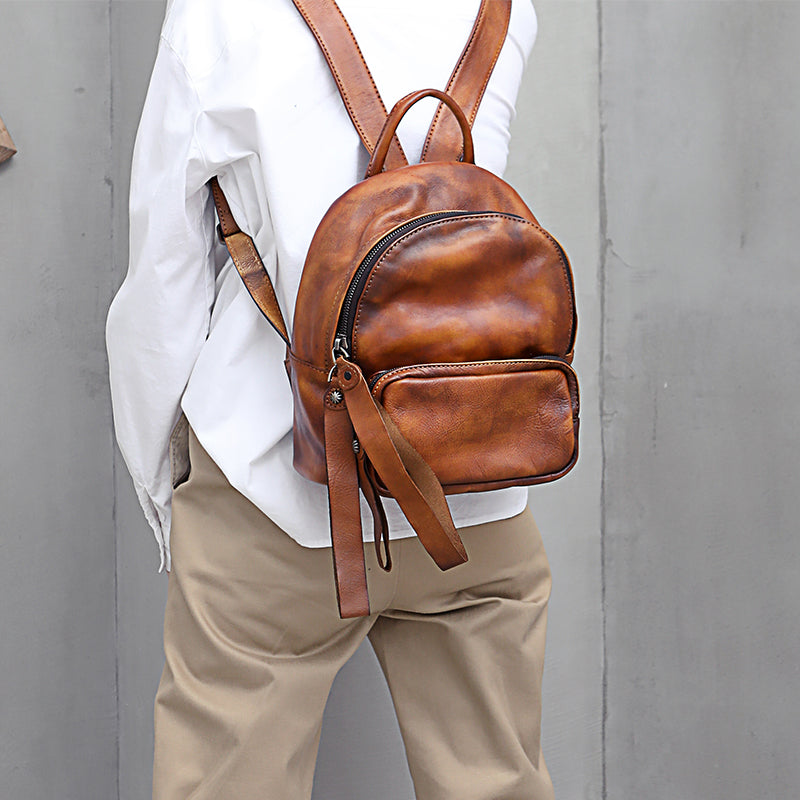Designer womens small brown leather backpack Bag purse backpacks for women beautiful
