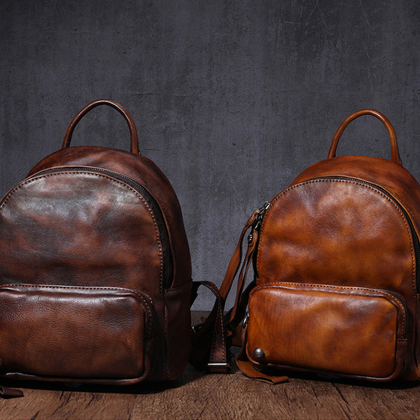 Designer womens small brown leather backpack Bag purse backpacks for women cowhide