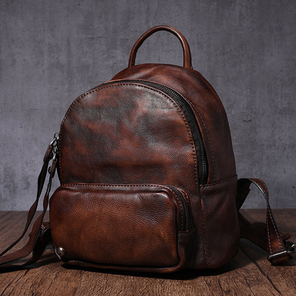 Designer womens small brown leather backpack Bag purse backpacks for women fashion