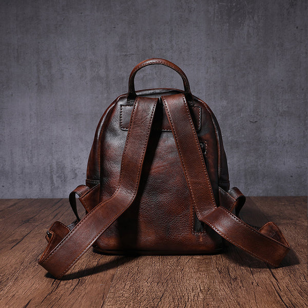 Designer womens small brown leather backpack Bag purse backpacks for women funky