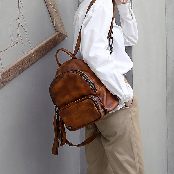 Designer womens small brown leather backpack Bag purse backpacks for women