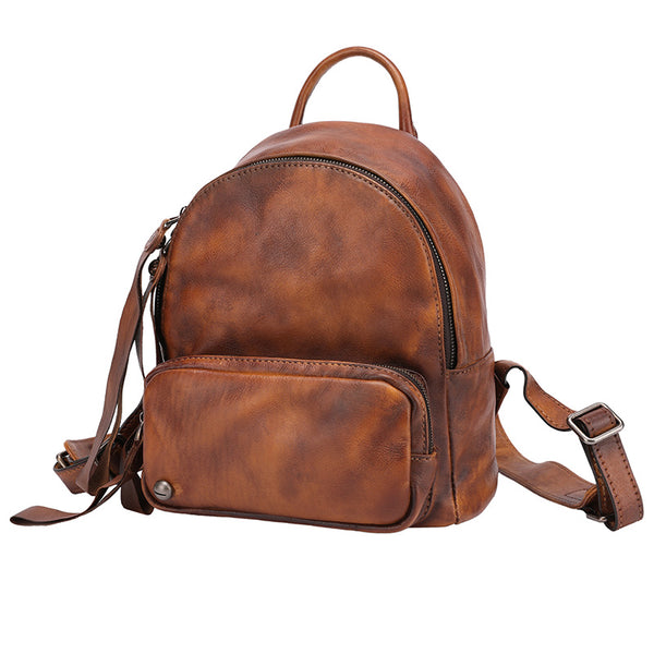 Designer womens small brown leather backpack Bag purse
