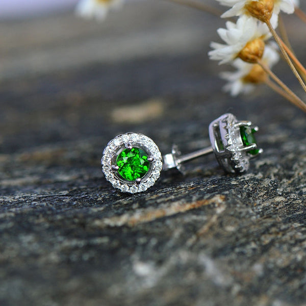 Diopside Stud Earrings in White Gold Plated Sterling Silver Handmade Jewelry Accessories Gifts Women