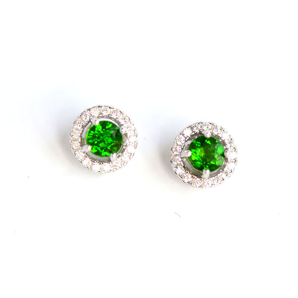 Diopside Stud Earrings Gold Silver Handmade Jewelry Accessories Gifts Women chic
