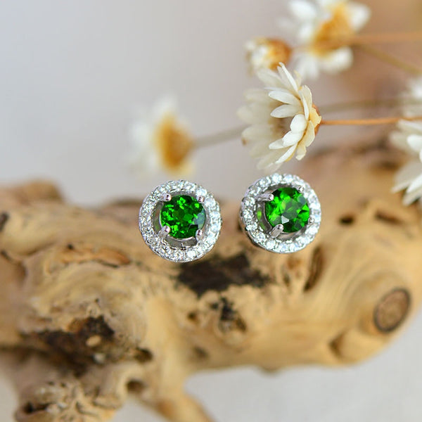 Diopside Stud Earrings Gold Silver Handmade Jewelry Accessories Gifts Women cute
