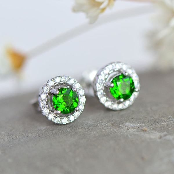 Diopside Stud Earrings Gold Silver Handmade Jewelry Accessories Gifts Women girls