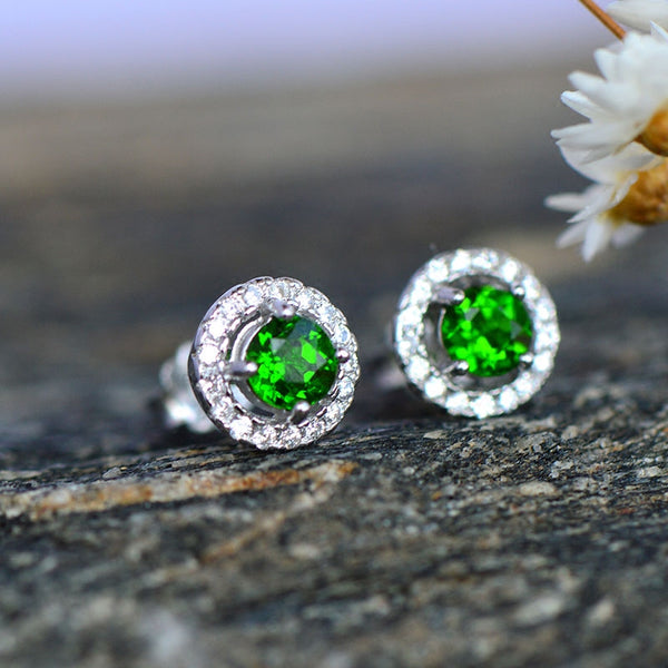 Diopside Stud Earrings Gold Silver Handmade Jewelry Accessories Gifts Women halo jewelry