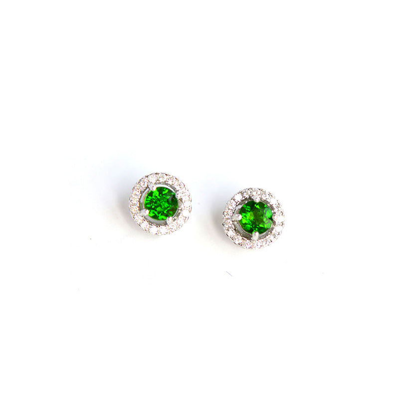 Diopside Stud Earrings Gold Silver Handmade Jewelry Accessories Gifts Women