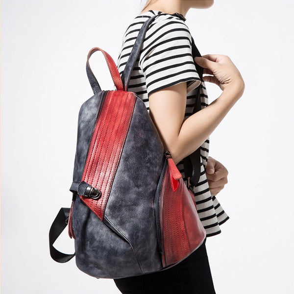 Dyed Leather Womens Backpack Purse Designer Backpacks for Women Handmade