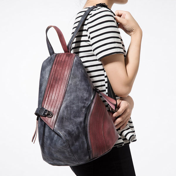 Dyed Leather Womens Backpack Purse Designer Backpacks for Women Unique