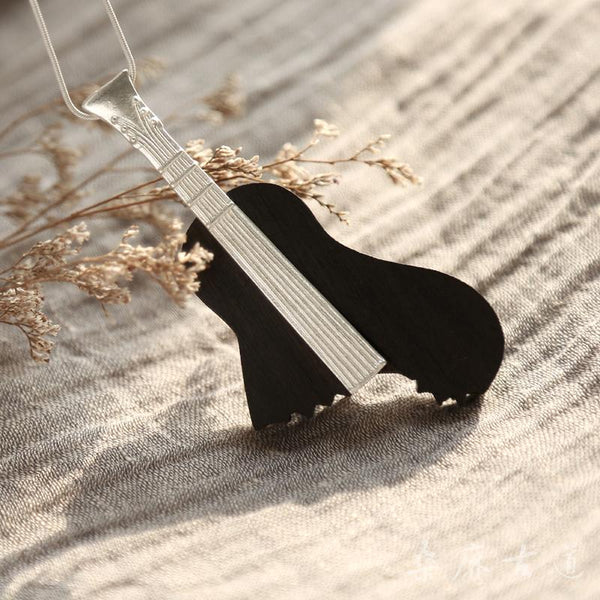 Ebony Brass Pendant Long Necklace Handmade Jewelry Accessories Gifts Women Men