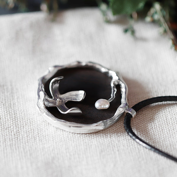 Ebony and Pearl Pendant Long Necklace Handmade Jewelry Accessories Gifts For Women Men