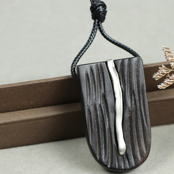 Ebony Silver Pendant Long Necklace Handmade Jewelry Accessories Gifts For Women Men
