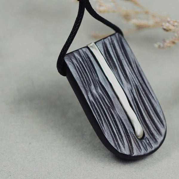 Ebony Silver Pendant Long Necklace Handmade Jewelry Accessories Gifts Women Men