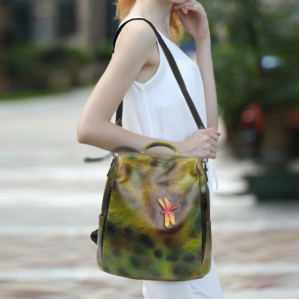 Elegant Womens Green Leather Backpack Bag Dragonfly Purse for Women Accessories