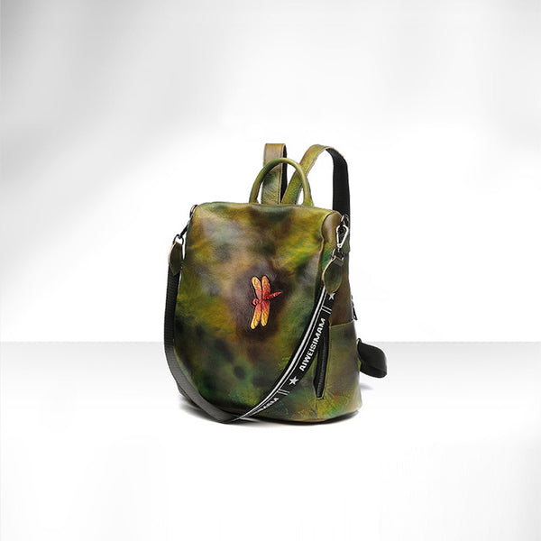 Elegant Womens Green Leather Backpack Bag Dragonfly Purse for Women Chic