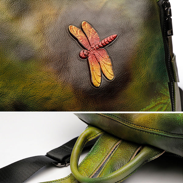 Elegant Womens Green Leather Backpack Bag Dragonfly Purse for Women Cute