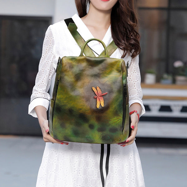 Elegant Womens Green Leather Backpack Bag Dragonfly Purse for Women