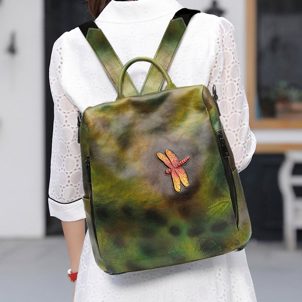 Elegant Womens Green Leather Backpack Bag Dragonfly Purse