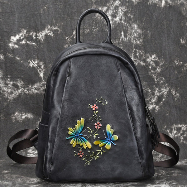 Elegant Womens Vintage Leather Backpack Bags Bookbag Purse for Women Beautiful