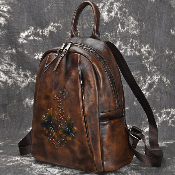 Elegant Womens Vintage Leather Backpack Bags Bookbag Purse for Women Brown