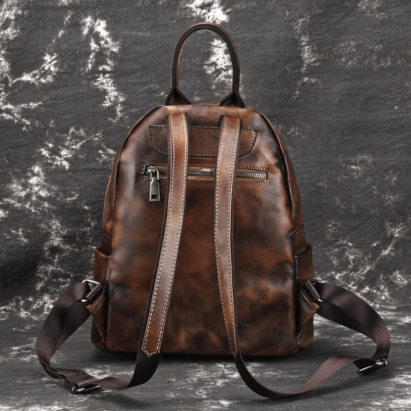 Elegant Womens Vintage Leather Backpack Bags Bookbag Purse for Women Chic