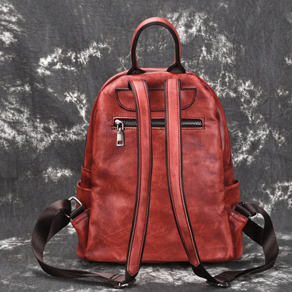 Elegant Womens Vintage Leather Backpack Bags Bookbag Purse for Women Cool