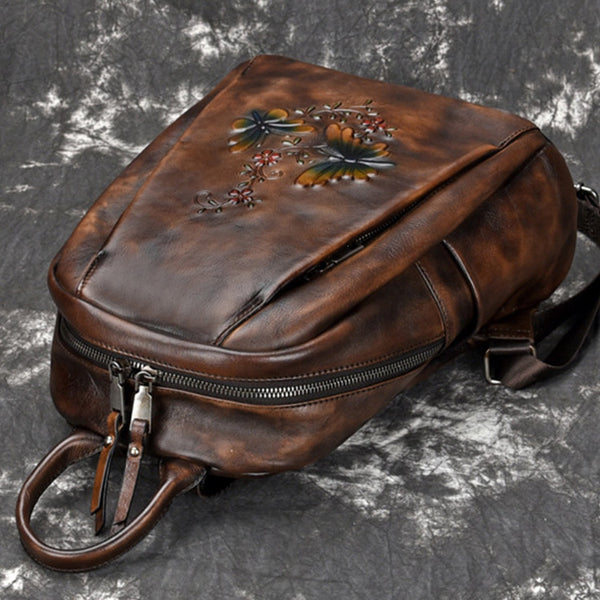 Elegant Womens Vintage Leather Backpack Bags Bookbag Purse for Women Cowhide
