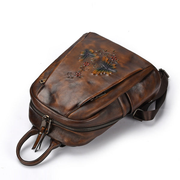Elegant Womens Vintage Leather Backpack Bags Bookbag Purse for Women Durable