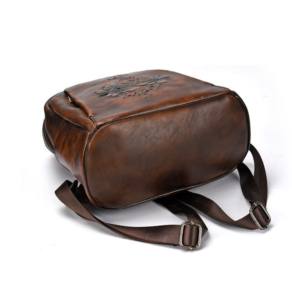 Elegant Womens Vintage Leather Backpack Bags Bookbag Purse for Women Genuine Leather