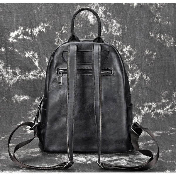 Elegant Womens Vintage Leather Backpack Bags Bookbag Purse for Women Handmade