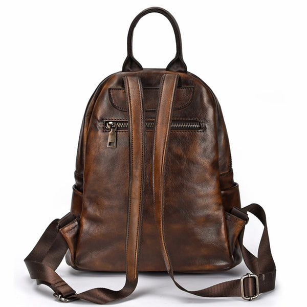 Elegant Womens Vintage Leather Backpack Bags Bookbag Purse for Women Nice