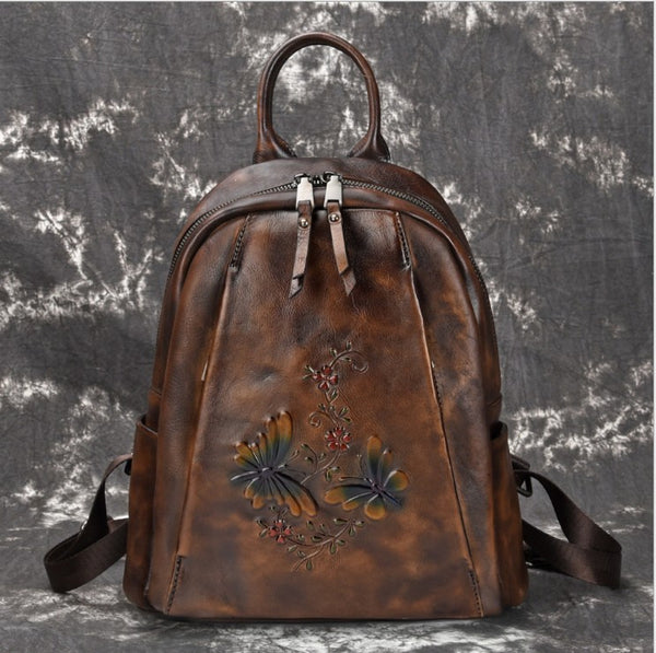 Elegant Womens Vintage Leather Backpack Bags Bookbag Purse for Women