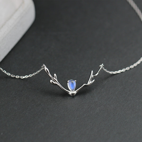 Elk Moonstone Pendant Necklace Silver Jewelry Accessories Gifts Women JUNE BIRTHSTONE