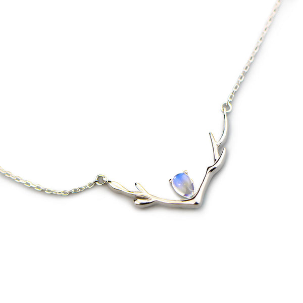 Elk Moonstone Pendant Necklace Silver Jewelry Accessories Gifts Women