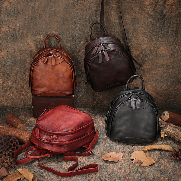 Fahsion Womens Brown Leather Backpack Purse Small Book Bag Purse Accessories