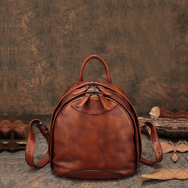 Fahsion Womens Brown Leather Backpack Purse Small Book Bag Purse Brown