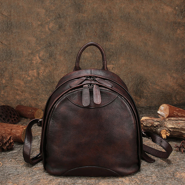 Fahsion Womens Brown Leather Backpack Purse Small Book Bag Purse Chic
