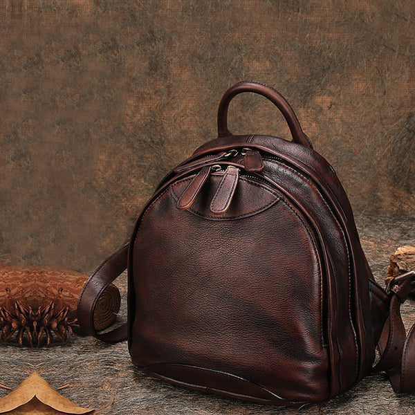 Fahsion Womens Brown Leather Backpack Purse Small Book Bag Purse for Women