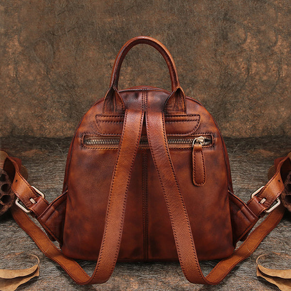 Fahsion Womens Brown Leather Backpack Purse Small Book Bag Purse Original