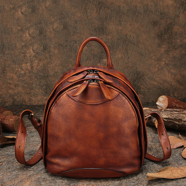 Fahsion Womens Brown Leather Backpack Purse Small Book Bag Purse beautiful