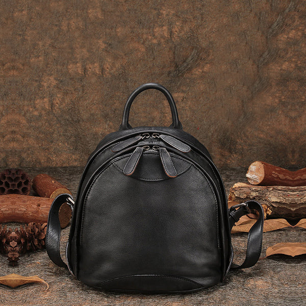 Fahsion Womens Brown Leather Backpack Purse Small Book Bag Purse black