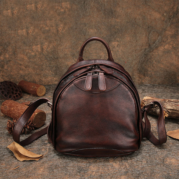 Fahsion Womens Brown Leather Backpack Purse Small Book Bag Purse cool
