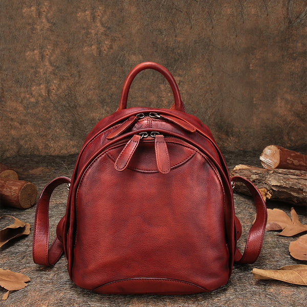 Fahsion Womens Brown Leather Backpack Purse Small Book Bag Purse cowhide