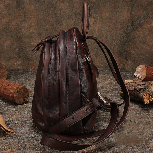 Fahsion Womens Brown Leather Backpack Purse Small Book Bag Purse funky