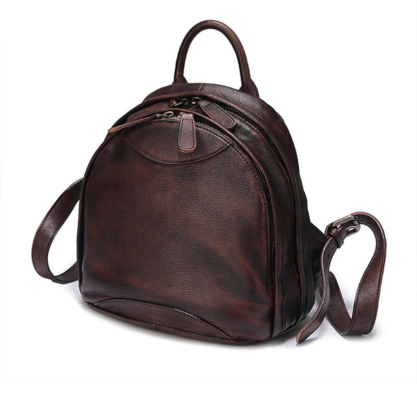 Fahsion Womens Brown Leather Backpack Purse