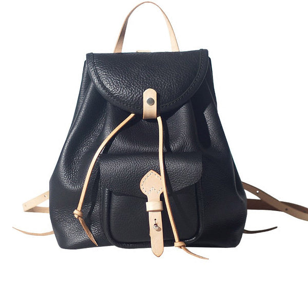 Fashion Womens Black Leather Backpack Bag