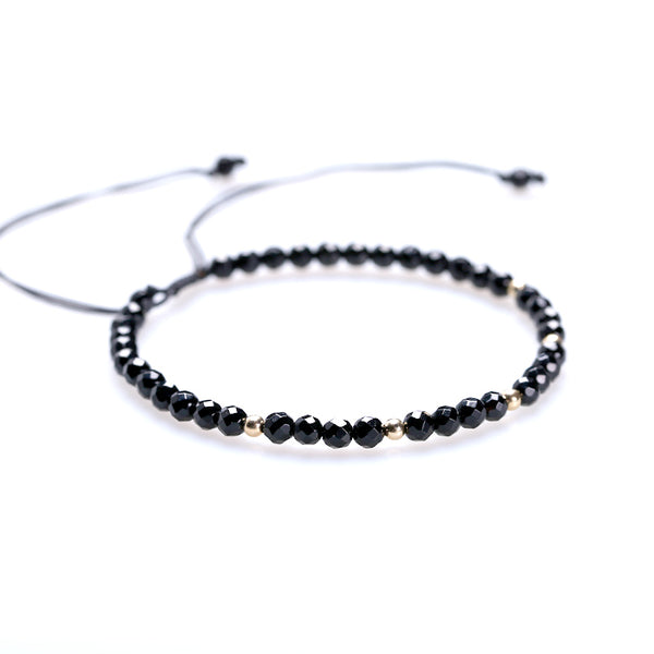 Feceted Black Onyx Beaded Bracelets Handmade Couples Lovers Jewelry Accessories Women Men adorable