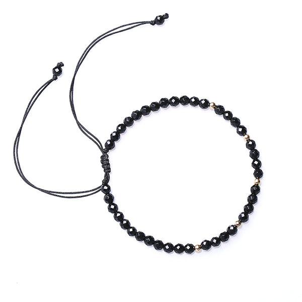 Feceted Black Onyx Beaded Bracelets Handmade Couples Lovers Jewelry Accessories for Women Men
