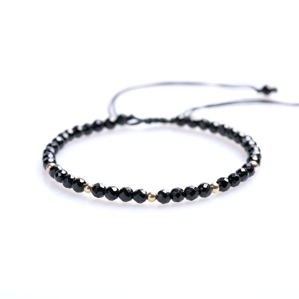 Feceted Black Onyx Beaded Bracelets Handmade Couples Lovers Jewelry Accessories Women Men